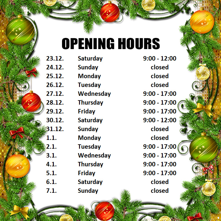 Opening Hours in next days
